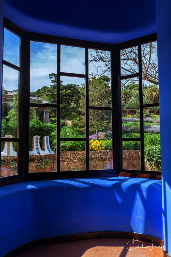 Barcelona, Spain, Park Guell, Antoni Gaudi, blue, window, architecture, gardens