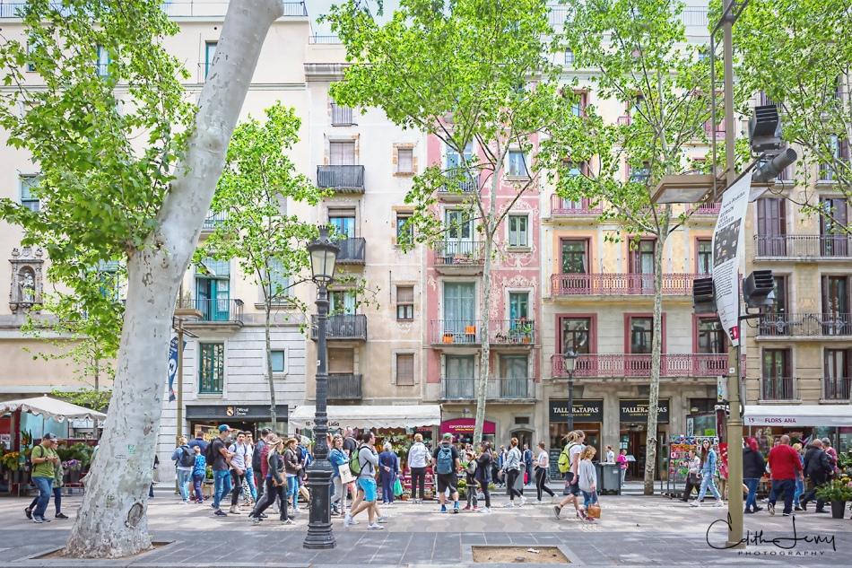 Barcelona, Spain, La Rambla, architecture, tourists, travel