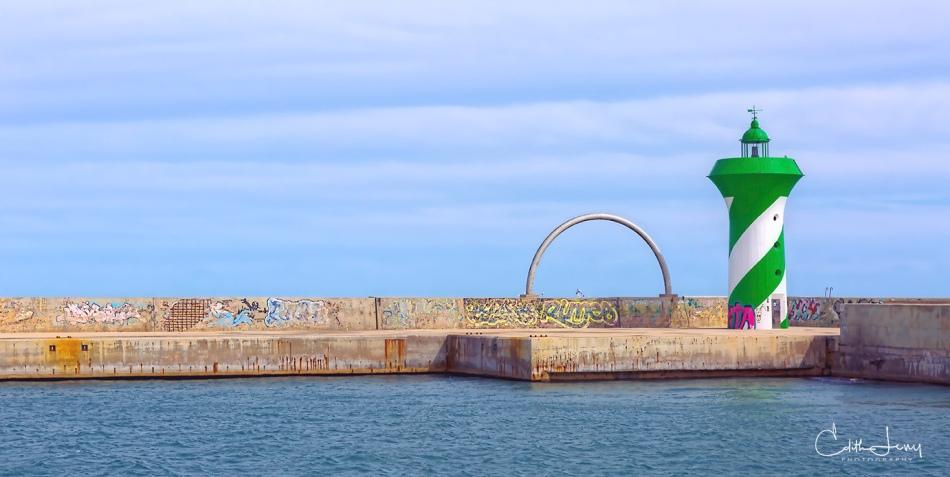 Barcelona, Spain, travel, Barcelonetta, waterfront, pier, graffiti, lighthouse