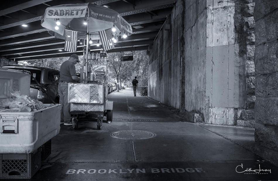 New York, Brooklyn, DUMBO, underpass, hotdog vendor, black and white, BNW, NYC