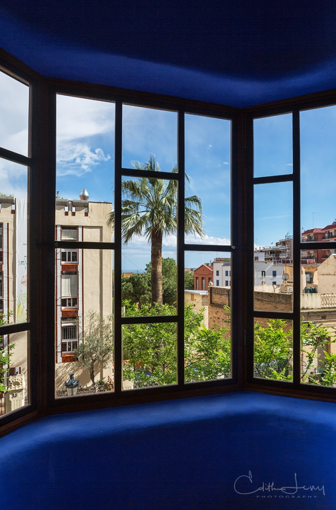 Barcelona, Spain, Park Guell, Antoni Gaudi, blue, window, architecture