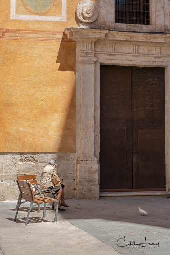 Valencia, Spain, old town, historic, bench, church, pigeon, woman