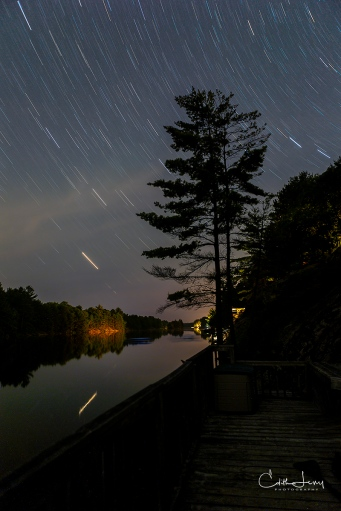 Ontario, Gravenhurst, star trails, night photography, long exposure, stars, lake, Turtle Lake