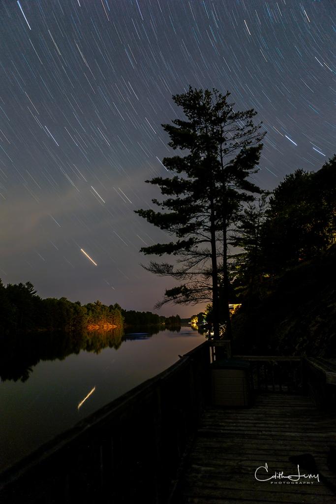 Ontario, Gravenhurst, star trails, night photography, long exposure, stars, lake, Turtle Lake
