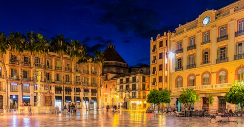 Malaga, Spain, old town, night photography, long exposure, town square