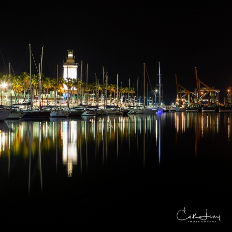 Malaga, Spain, marina, pier, night photography, long exposure, reflections, lighthouse, boats