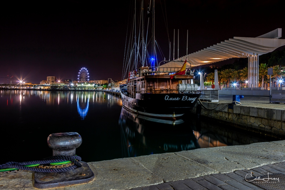 Malaga, Spain, marina, pier, night photography, long exposure, reflections, boat, ferris wheel
