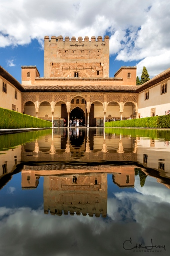 Spain, Granada, Alhambra, palace, architecture, reflection, travel