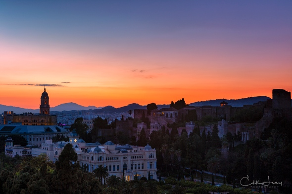 Spain, Malaga, sunset, Old town, blue hour, travel, cityscape