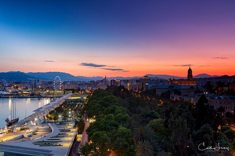 Malaga, Spain, sunset, blue hour, golden hour, landscape, pier, long exposure