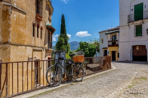 Ronda, Spain, valley, mountains, bicycle, village